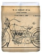 1928 Harley Davidson Motorcycle Antique Paper Patent Print Duvet Cover