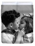 1930s Two Children Young Boy And Girl Duvet Cover