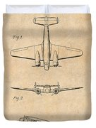 1934 Lockheed Model 10 Electra Airliner Patent Antique Paper Duvet Cover