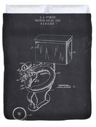 1936 Toilet Bowl - Dark Charcoal Grunge Duvet Cover
