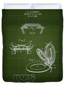 1936 Toilet Seat - Dark Green Blueprint Duvet Cover