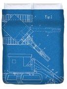 1937 Backhoe Excavator Blueprint Patent Print Duvet Cover
