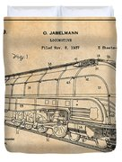 1937 Jabelmann Locomotive Antique Paper Patent Print Duvet Cover