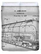 1937 Jabelmann Locomotive Gray Patent Print Duvet Cover