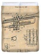 1937 Trumpet Antique Paper Patent Print Duvet Cover