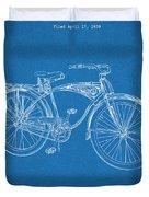 1939 Schwinn Bicycle Blueprint Patent Print Duvet Cover