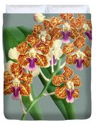 Orchid Vintage Print On Tinted Paperboard Duvet Cover