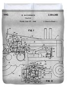 1942 John Deere Tractor Gray Patent Print Duvet Cover