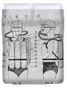 1947 Jacques Cousteau Diving Suit Patent Print Gray Duvet Cover