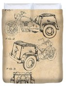 1952 3 Three Wheel Motorcycle Antique Paper Patent Print Duvet Cover