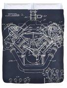 1954 Chrysler 426 Hemi V8 Engine Blackboard Patent Print Duvet Cover