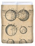 1954 Wiffle Ball Patent Print Antique Paper Duvet Cover
