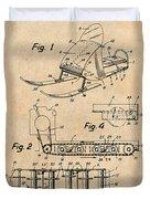 1960 Bombardier Snowmobile Antique Paper Patent Print Duvet Cover