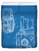 1960 Rolleiflex Photographic Camera Blueprint Patent Print Duvet Cover
