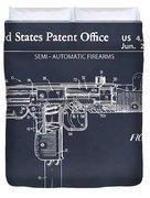 1982 Uzi Submachine Gun Blackboard Patent Print Duvet Cover