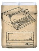 1983 Steve Jobs Apple Personal Computer Antique Paper Patent Print Duvet Cover