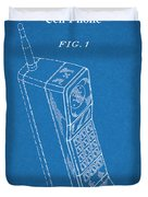 1988 Motorola Cell Phone Blueprint Patent Print Duvet Cover
