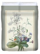 A Bouquet Of Flowers With Insects  Duvet Cover
