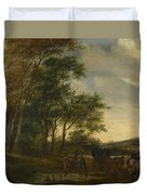 A Landscape With A Carriage And Horsemen At A Pool  Duvet Cover
