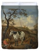 A White Horse Standing By A Sleeping Man  Duvet Cover