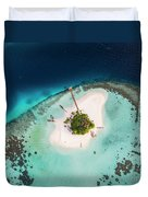 Aerial Drone View Of A Tropical Island, Maldives Duvet Cover