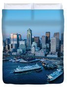 Aerial View Of A City, Seattle, King Duvet Cover