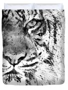 Black And White Half Faced Tiger Duvet Cover