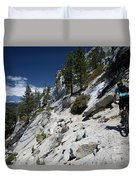 Cyclist On Mountain Road, Lake Tahoe Duvet Cover