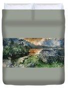 Digital Watercolor Painting Of Panorama Landscape Stunning Sunri Duvet Cover