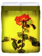 Dying Flower Against A Yellow Background Duvet Cover