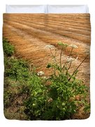 Field With Brown Cut Flax In Rows Drying In The Sun Duvet Cover
