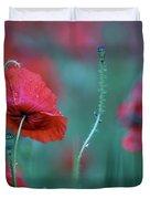 Red Corn Poppy Flowers Duvet Cover