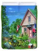 Scenic Garden And Antiques Store Duvet Cover