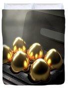 Six Golden Eggs In An Egg Carton Duvet Cover