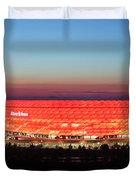 Soccer Stadium Lit Up At Dusk, Allianz Duvet Cover