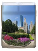 Summer Flowers In Bloom, Millennium Park, Chicago City Center, I Duvet Cover