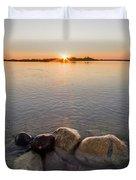 Sunset Over Platte River Duvet Cover