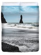The Dramatic Black Sand Beach Of Reynisfjara. Duvet Cover