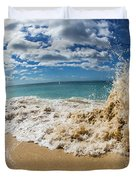 View Of Surf On The Beach, Hawaii, Usa Duvet Cover