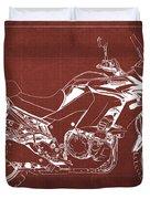 2018 Kawasaki Versys 1000 Lt Abs Blueprint Old Vintage Red Background Original Artwork Duvet Cover