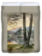 Digital Watercolor Painting Of Beautiful Landscape Image Of Tarn Duvet Cover