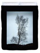 Moody Winter Landscape Image Of Skeletal Trees In Peak District  Duvet Cover