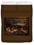 Shepherds And Sheep  Duvet Cover