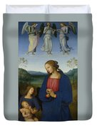 The Virgin And Child With An Angel  Duvet Cover