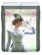 Victorian Woman In The Garden Duvet Cover