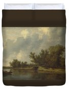 A River Landscape With Fishermen  Duvet Cover