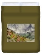 Digital Watercolor Painting Of Landscape Image Of View From Prec Duvet Cover
