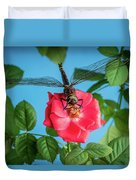 Dragonfly On A Flower Of A Red Rose. Macro Photo Duvet Cover