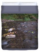 Long Exposure Photographs Of Rolling River With Fall Foliage Duvet Cover