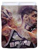Portrait Of Tim Duncan Duvet Cover
